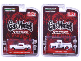 1956 Ford F-100 Pickup Truck and 1965 Ford Mustang Fastback White Set of... - $32.98