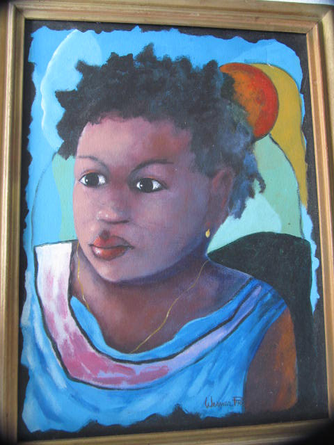 "Rare Original Acrylic Art Painting Untitled ""Young Native Haitian Girl""-Signed W"