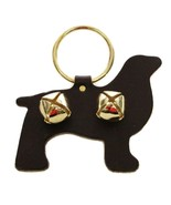 DOG with SLEIGH BELLS LEATHER DOOR CHIME - BLACK - Amish Handmade in USA - $19.57