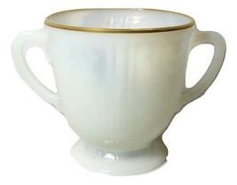 American Sweetheart Sugar Bowl White w/ Gold Trim Monax Vintage Depressi... - $12.08