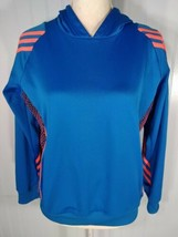 Adidas Boys Youth Large Athletic Pullover Blue Orange Long Sleeve Striped Hoodie - $15.79