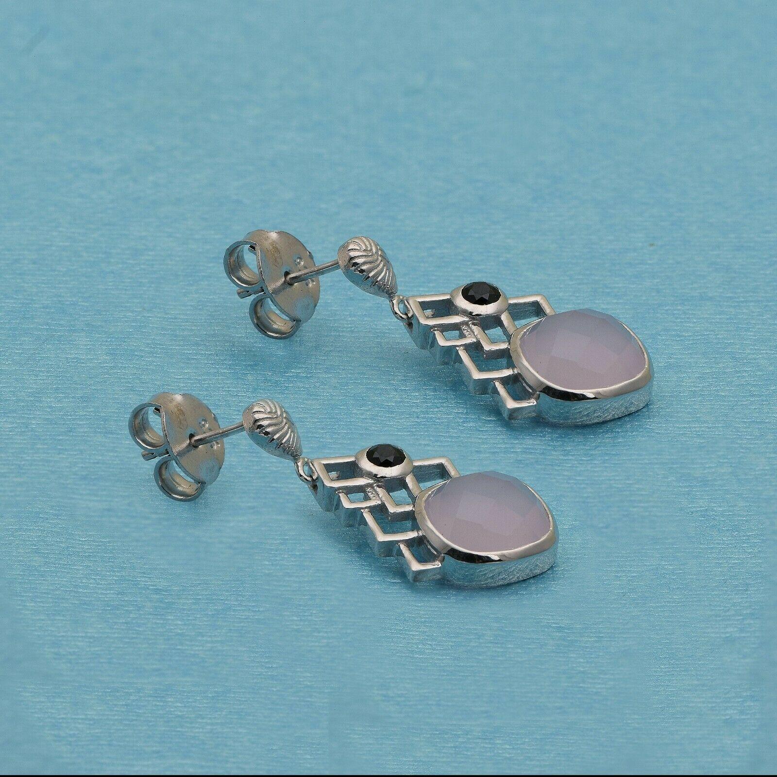 Gorgeous 925 Sterling Silver 10MM Rose Quartz Black Spinel Designer Stud Earring