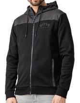 Hugo Boss Men's Premium Zip-Through Hoodie Sweatshirt Jacket With Curved Logo image 2