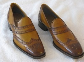 Premium Leather Vintage Two Tone Brown Tan Moccasin Handmade Men Wing Tip Shoes - $139.90+