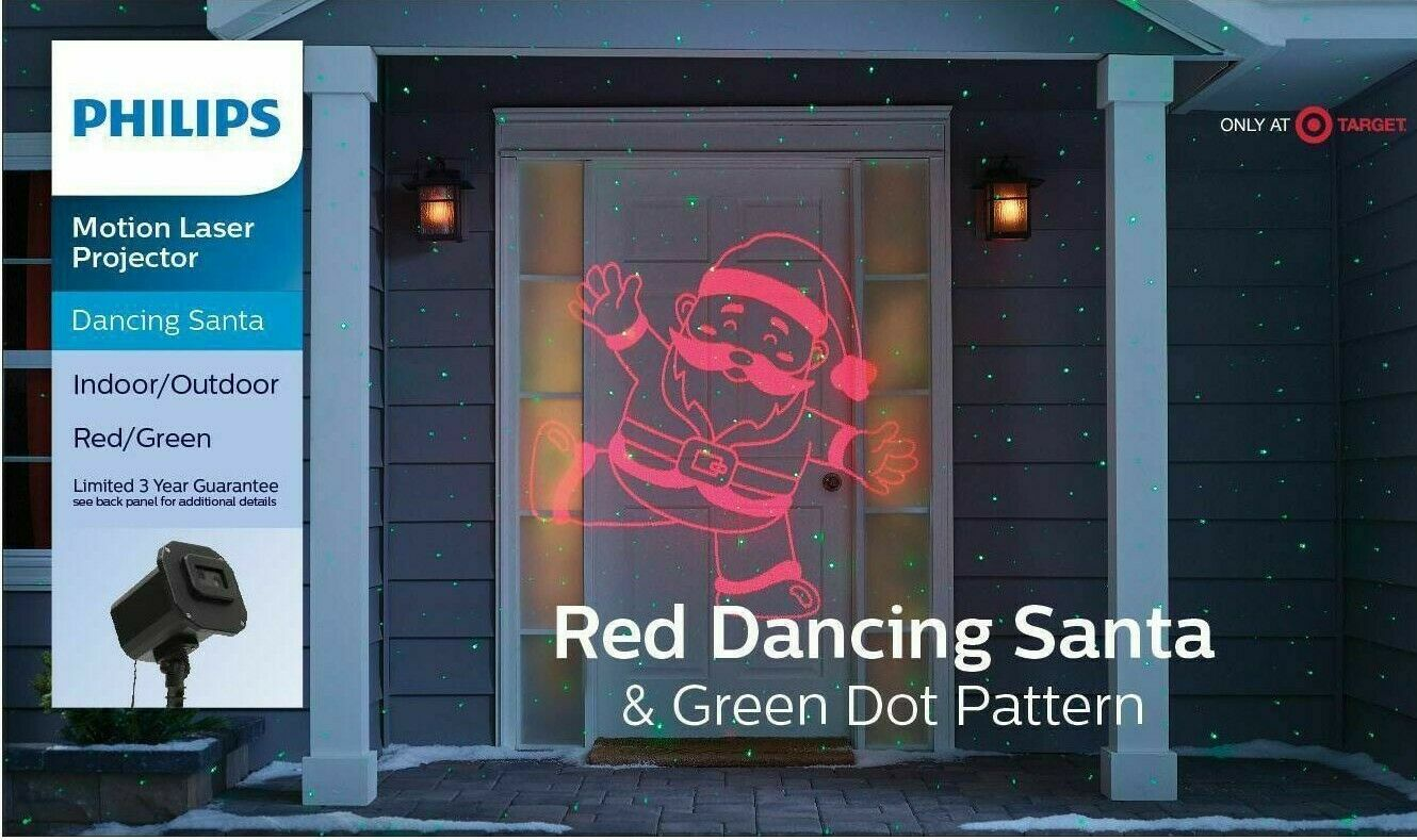 Philips Christmas Laser Projector Dancing Santa Red and Green Dot Pattern NEW
