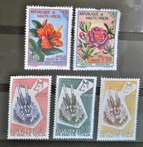 Upper Volta  Set of 5 Stamps -used cancelled- Free Shipping  Lot  3039 - $1.68