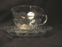 Blue Bubble Depression Glass Cup and Saucer Set - $12.99