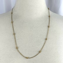 Premier Designs Dainty Gold Tone Chain Station Satellite Bead Necklace S... - $12.58