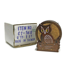 Vintage 1970s OWL Wood & Cork COASTER SET | 6 With Stand | Original Box ... - $14.80