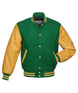 GREEN Wool Varsity Letterman BOMBER BASEBALL Jacket- GOLD YELLOW Leather Sleeves - $83.70 - $89.35
