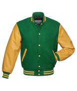 GREEN Wool Varsity Letterman BOMBER BASEBALL Jacket- GOLD YELLOW Leather Sleeves - $83.70 - $89.35