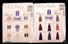 2 McCALL'S PATTERNS  MANY GREAT LOOKS  SZ D  (12,14,16) - $6.92