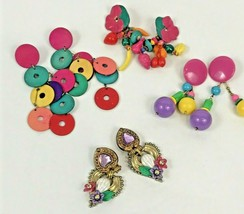 Vintage Earring Lot MAM Style Drop Dangle Bright Colorful Fruit Pink Blu... - $29.69