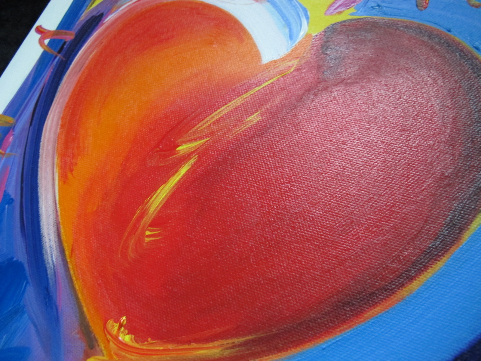 Peter Max Original Acrylic Painting HAND Painted & Signed HEART With COA