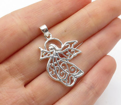 925 Sterling Silver - Shiny Swirl Detailed Flying Angel Motif Pendant - ... - $23.84