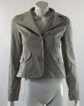 Ann Taylor LOFT Womens Blazer Suit Jacket 0 Gray Khaki Button Front Career Wear - $12.86