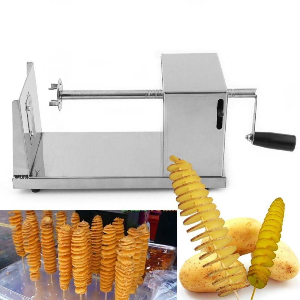 1pc stainless steel manual twisted potato slicer spiral french fry vegetable cutter kitchen tool