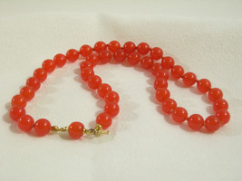TRIFARI CORAL Color Beads Choker Necklace Hand Knotted Strand Orange Vintage  image 1
