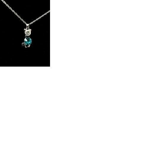 18K White Gold Plated Cat Swarovski Elements Crystal Necklace