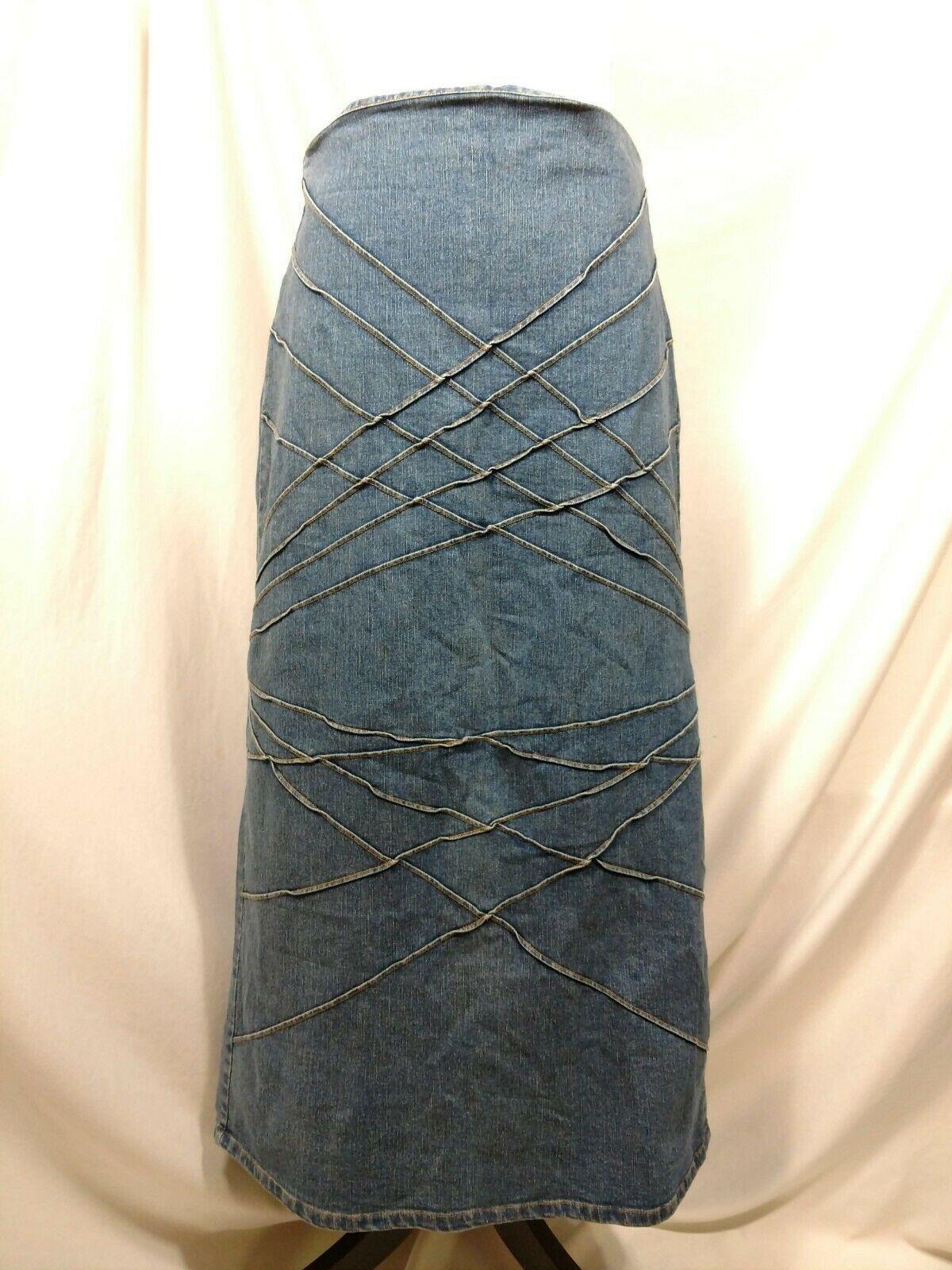 Vtg RT JEANS CO Denim Skirt Long Modest Sz 34 Fits Small Medium Blue Jean Maxi image 2