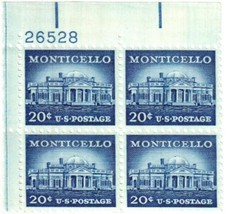 1956 Monticello Plate Block of 4 US Postage Stamps Catalog 1047 MNH