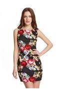 BEULAH $115 Black Sleeveless Floral Summer Day Evening Mini Dress Large ... - $29.67