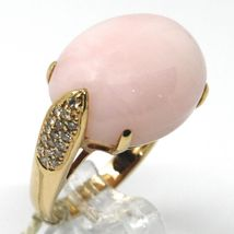 SOLID 18K ROSE GOLD RING, BIG CABOCHON OVAL PINK OPAL, DIAMONDS 0.23 CARATS image 3