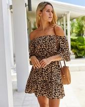 New brown leopard print off shoulder oversized half sleeve A line women ... - $32.00