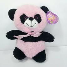 "Panda Bear Pink Black Plush Stuffed Animal Sugar Loaf Soft Pink Bow Tie 9"" - $14.84"