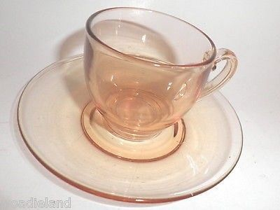 Vintage Amber Fostoria Expresso Demitasse Depression Glass  Cup & Saucer Mint
