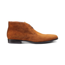 Handmade Men's Brown Suede Chukka High Ankle Lace Up Boots image 3
