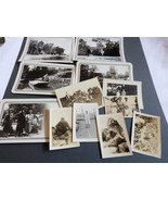 Lot of 12 Photographs Snapshots old black & white photos Nature people T... - $16.63