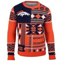 Laid Noël Pull NFL Denver Broncos Patchs Football Noël Ras Cou - $54.00+