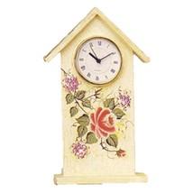 Shelf Clock Wooden Desk Rose Floral Cottage Design House Style - $29.65