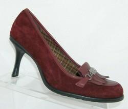 Gianni Bini burgundy suede round toe kiltie oxford slip on pump heel 10M 6762 - $32.27