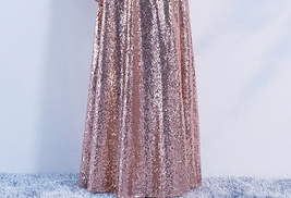 Long Sleeve Rose-Gold Maxi Sequin Dress Women Maxi Sequined Evening Wedding Gown image 10