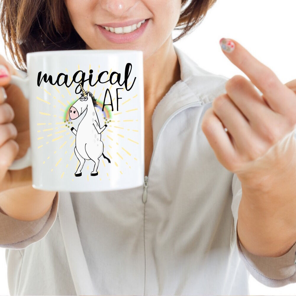 Magical AF Mug Unicorn Funny Rude Gift for Her Mom Coworker Coffee Cup Ceramic image 4