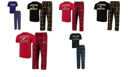 NHL Men's Halftime Sleep Set Tee Shirt Pants Lounge Pajamas Licensed Hockey NEW