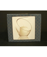 "Sleek Modern Glass Angled Rim Candle Holder by At Home 7.5""x8"" NIB - $4.00"