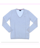 Tommy Hilfiger Sweater Womens  Pullover V-neck Sweatshirt  Lit Blue XXL - $34.10
