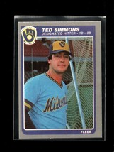 1985 FLEER #596 TED SIMMONS NM BREWERS - $0.99