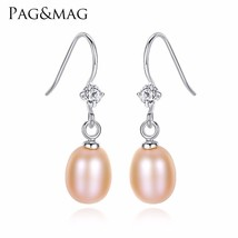 PAGMAG Hot Sale Charming 925 Sterling Silver Geometric CZ Paved Freshwat... - $5.81