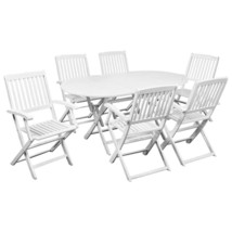 vidaXL Solid Acacia Wood 7 Piece Outdoor Dining Set White Garden Chair T... - $362.99