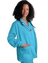 Scrub Jacket XL Turquoise Adar Uniforms Warm Up Top Round Neck Women's 602 New - $19.37
