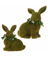 "Raz Imports bunny rabbit 9 1/2"" set of 2 Moss Rabbits 4053301 - $39.19"