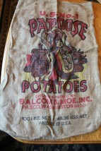 Papoose Potatoes Burlap Bag Balcom & Moe Inc Pasco Washington 100 lbs Vi... - $49.49