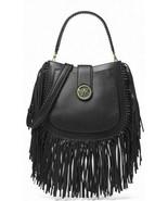 Michael Kors Lillie Medium Fringed Hobo Messenger Shoulder Bag - Black Msrp $448 - $197.99