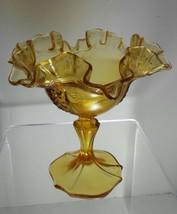 Fenton flaring scalloped dark amber pedestal dish vintage 1950s / 1960 s - $16.95