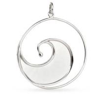 Pendant, Large Ocean Wave, Sterling Silver, 35x28.5mm, Pkg Of 1pc (11257)/1 - $23.80