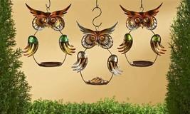 "Set of 3 - 13"" Metal Owl Design Hanging Birdfeeders Copper Green and Brown Color"